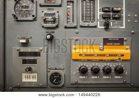 Vintage of an airplane panel controls detail