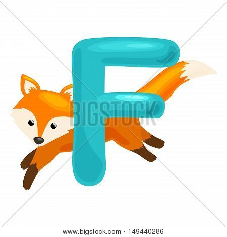 animal fox and letter for kids abc education in preschool.