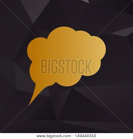 Speach Bubble Sign Illustration. Golden Style On Background With Polygons.