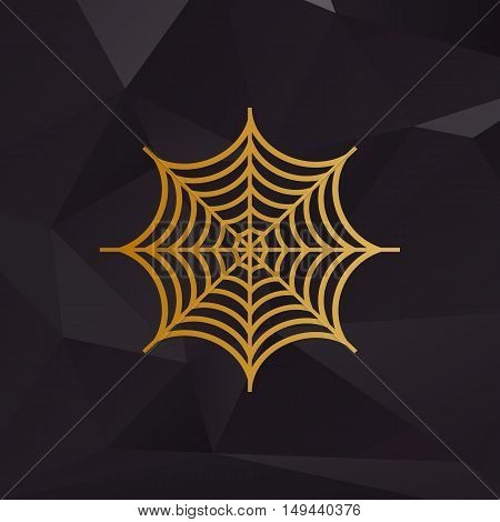 Spider On Web Illustration. Golden Style On Background With Polygons.