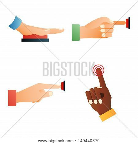 Hand press red button finger press icon on white background. Finger control start up hands push red buttons pointer cursor. Target gesture internet human hands push buttons touch concept one click.