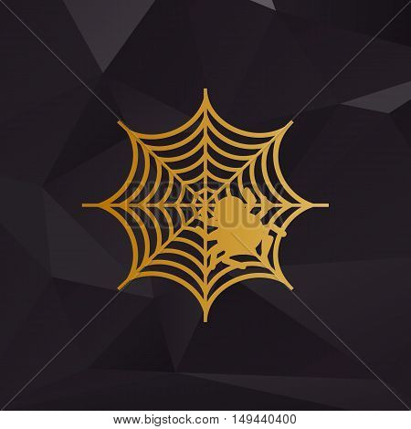 Spider On Web Illustration Golden Style On Background With Polygons.