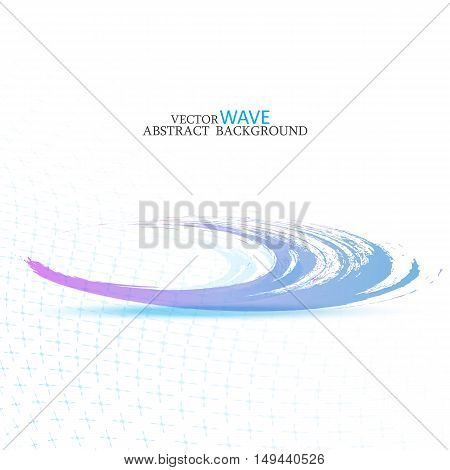 Blue abstract wave disappearing into the distance.Abstract background