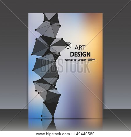 Abstract composition, polygonal triangle construction, connecting dots and lines, a4 brochure title sheet, space sky background, light elegant surface, logo sign backdrop, EPS 10 vector