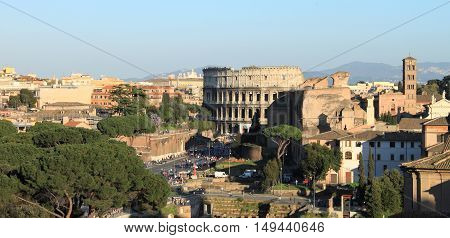 Panoramic view of Rome with Colosseum. Italy