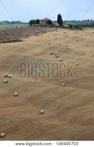 Landscape in Tuscany with luxury villa cypresses and hay bales
