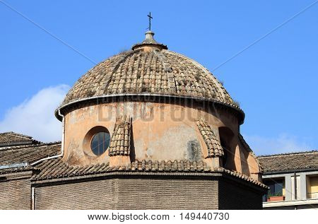 Closeup view of Dome in Rome, Italy