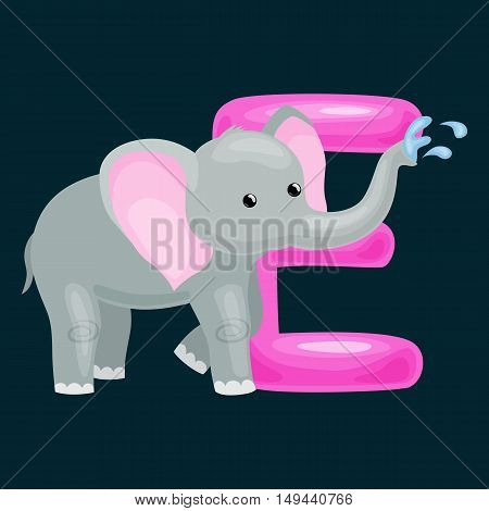elephant animal and letter for kids abc education in preschool.