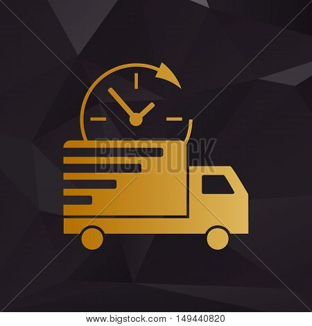 Delivery Sign Illustration. Golden Style On Background With Polygons.