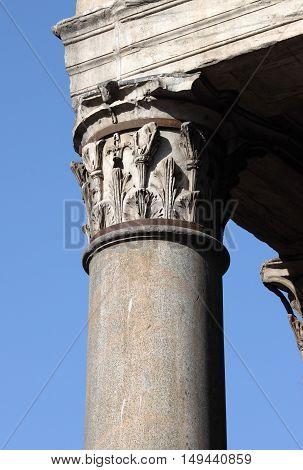 Corinthian column in the Pantheon of Rome Italy
