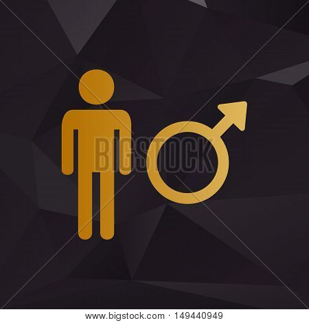 Male Sign Illustration. Golden Style On Background With Polygons.