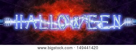 Word Halloween made of crossed bones and Electric lighting on scary color liquid. Halloween concept.