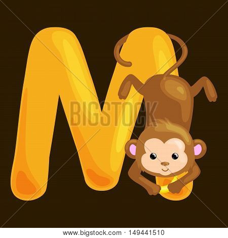 monkey animal and letter M for kids abc education in preschool.