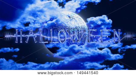 Word Halloween made of crossed bones and Electric lighting effect on full moon background. Halloween concept.