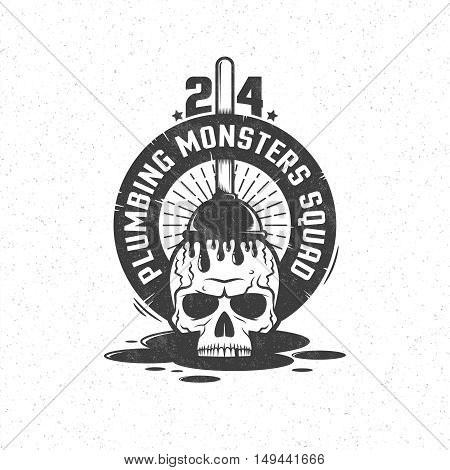 Skull and plunger in vintage  retro style. Plumbing service emblem, logo.  Grunge texture and background on separate layers.