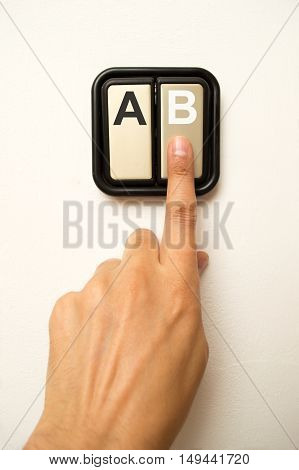 finger chooses the B option instead the A option
