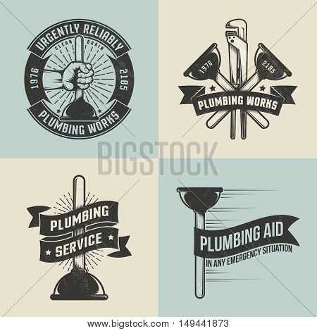 Retro, vintage logos, labels for plumbing service. Plunger in hand. Textures, background, text on separate layers.