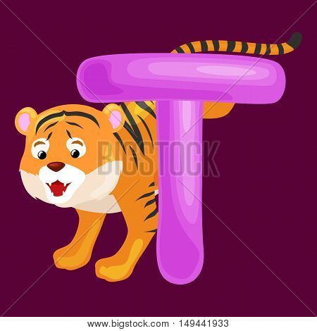 tiger animal and letter T for kids abc education in preschool.Cute animals letters english alphabet.