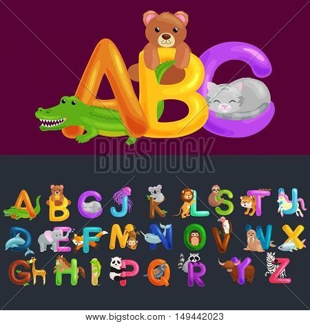 Abc animal letters for school or kindergarten children alphabet education