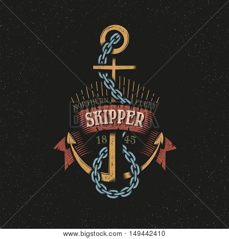 Color logo, emblem with anchor in a vintage retro style. Textures, background on separate layers.