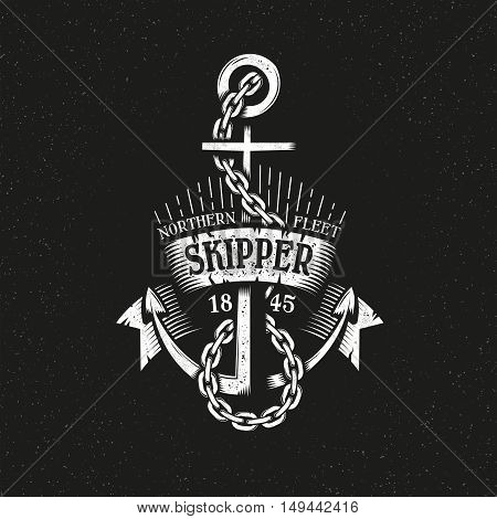 Vintage retro anchor with chain and ribbon grungy style on a black background. Marine logo vector illustration. Textures, text, background on separate layers.