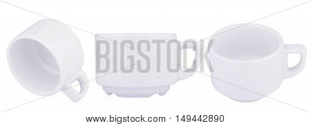 different views of empty white ceramic coffee cup isolated on white background