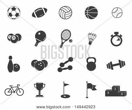 Sports set icons. Sports set Vector isolated on white background. Flat vector illustration in black. EPS 10