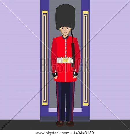English guard. Colorful hand drawn cartoon vector illustration
