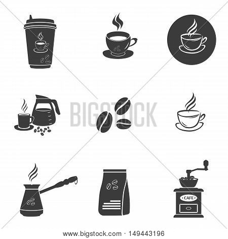 Coffee set icons. Coffee set Vector icons isolated on white background. Flat vector illustration in black. EPS 10