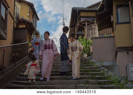 KYOTO, JAPAN - APRIL 29 , 2016 : Japanese women kimono and man , national costume of Japan. soft focus . Kyoto, Japan. APRIL 29 2016.