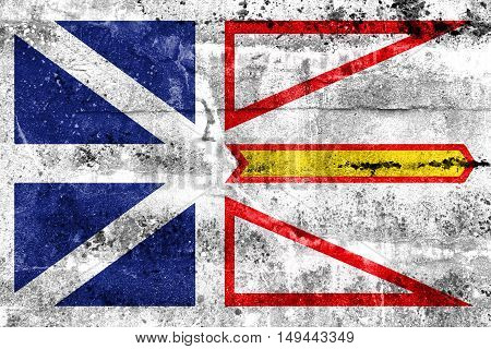 Flag Of Newfoundland And Labrador Province, Canada, Painted On Dirty Wall