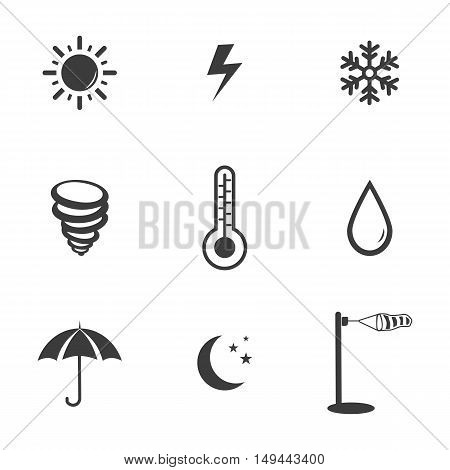 Weather set icons. Weather set Vector icons isolated on white background. Flat vector illustration in black. EPS 10
