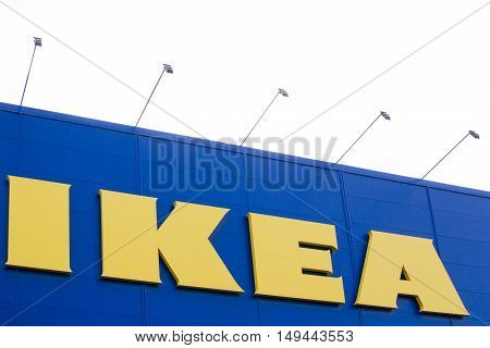 VILNIUS, LITHUANIA - September 18, 2016 :The Ikea logo in Vilnius September 18, 2016. IKEA is the world's largest furniture retailer. Founded in Sweden in 1943.