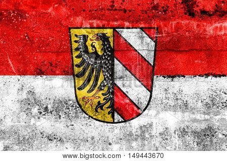 Flag Of Nuremberg, Germany, Painted On Dirty Wall