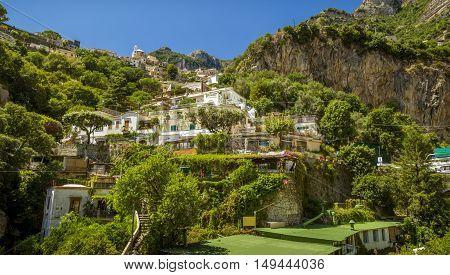 Positano Village on Amalfi Coast in Italy