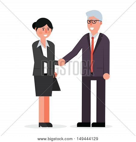 Young employee and senior businessman shaking hands and smiling. Boss and manager agreement for cooperation. Handshake vector illustration.