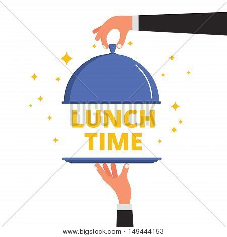 Waiter hands opening cloche lid cover revealing Lunch Time text on a tray. Flat style vector illustration