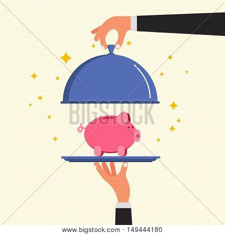 Businessman hands opening cloche lid cover with piggy bank on plate. Time deposit or investment offer concept. Project funding image. Flat style vector illustration.