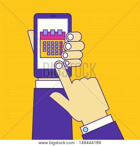 Businessman hand touching smartphone screen with schedule app. Calendar planning application for cell phone. Flat line vector illustration concept design.