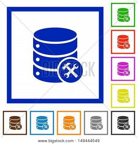 Set of color square framed Database maintenance flat icons