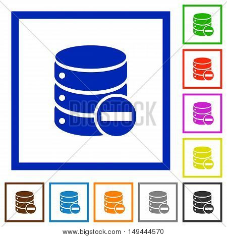 Set of color square framed Remove from database flat icons