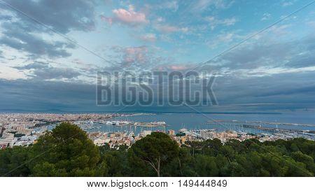 Cloudy sky over Palma marina in Majorca island, shot from bellver castle, Spain