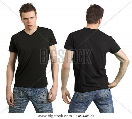Teenager With Blank Black Shirt