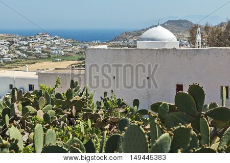 White church and landscape of Mykonos island, Cyclades, Greece