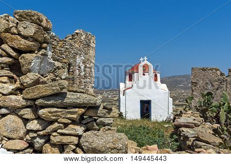 The ruins of a medieval fortress and White church, Mykonos island, Cyclades, Greece
