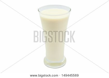 Glass of milk isolated on white background.