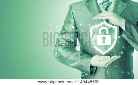 Data protection and insurance. Concept of business security, safety of information from virus, crime and attack. Internet secure system.
