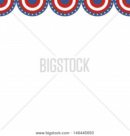 Border of American flag on a white background. Vector illustration