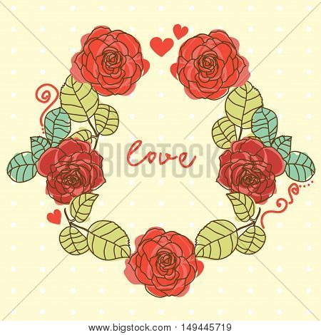 Card for love with roses wreath, vector illustration