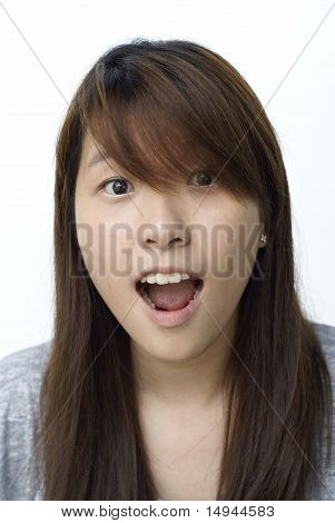 Surprised asian lady